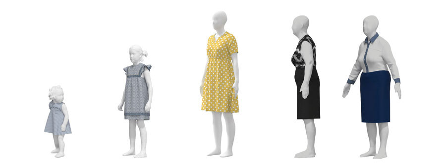 3D design avatars representing toddler, child, woman, middle age and elderly demographics